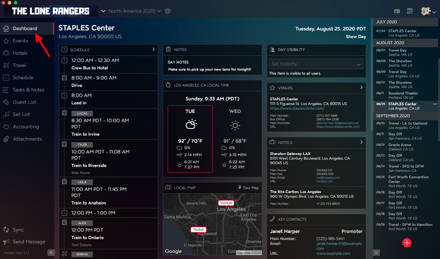 Key Contacts Dashboard