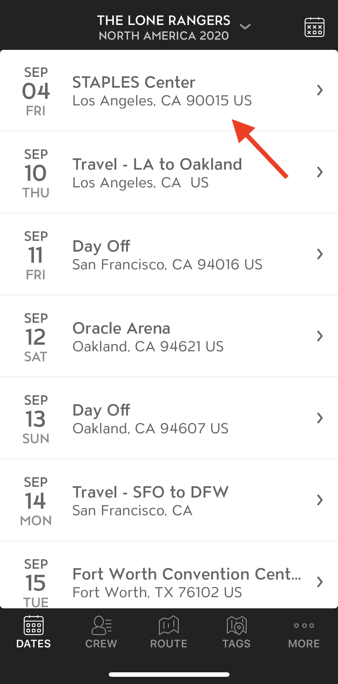 View Tour Date Attachments